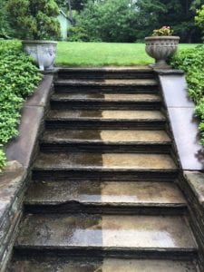 Finally a nice set of steps to the nice yard. - h2oTEKS Ltd. Pressure Washing