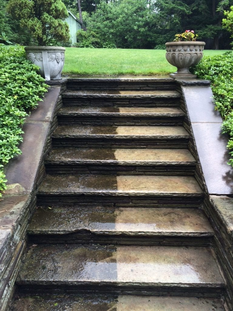 pressure washing slate patio